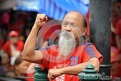 Thousands of Red Shirts Protest in Bangkok Editorial Stock Image