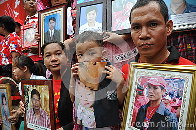 Thousands of Red Shirts Protest in Bangkok Editorial Image