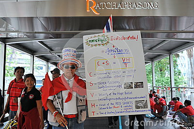Thousands of Red Shirts Protest in Bangkok Editorial Photo