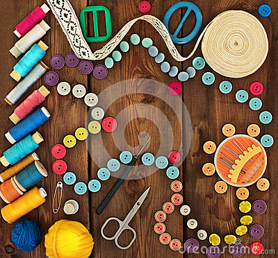 Free Thread, Buttons And Accessories For Needlework Stock Photos - 42855423