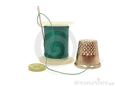 Thread, needle, button and thimble