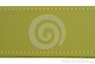 Thread seam on green leather