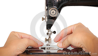 Threading a vintage sewing machine