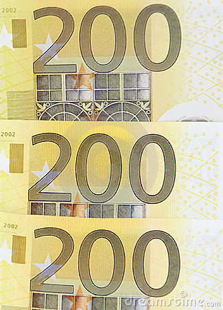 Three 200 euro banknotes
