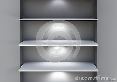 Three 3d shelves and spotlights for exhibit