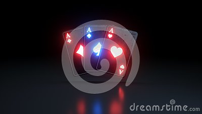 Three Aces Poker Cards With Glowing Neon Lights Isolated On The Black Background - 3D Illustration Stock Photo