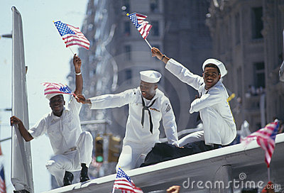 Three African-American Sailors in parade Editorial Photography