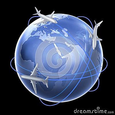 Three airplanes around the globe