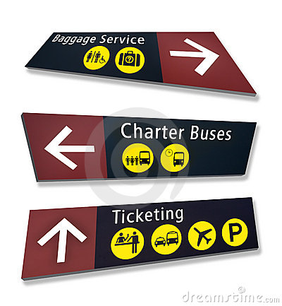 Three Airport Direction Signs at Crazy Angles