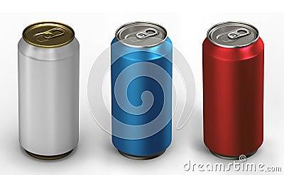 Three aluminum cans.