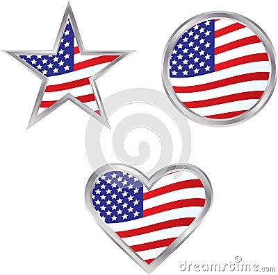 Three American Flag Icons