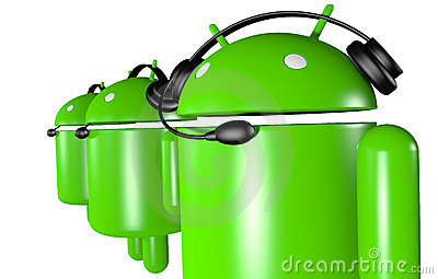 Three Android Robots Support Editorial Photo