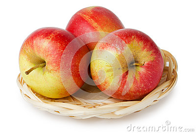 Three apples in a basket