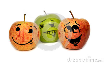 Three apples with cartoon faces isolated