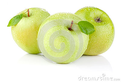 Three apples with green leaves and water drops