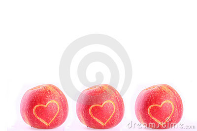 Three apples with heart
