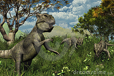 Three Archaeoceratops Dinosaurs Exploring