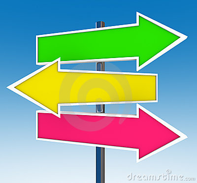 Three Arrow Signs - Which Option Do You Choose? Stock ...