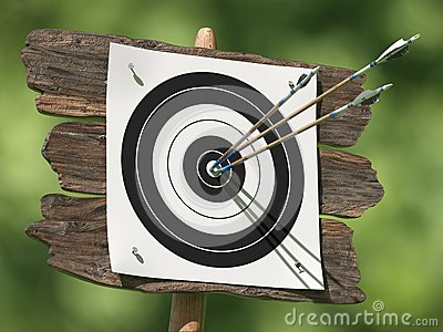 Three arrows on an archery target