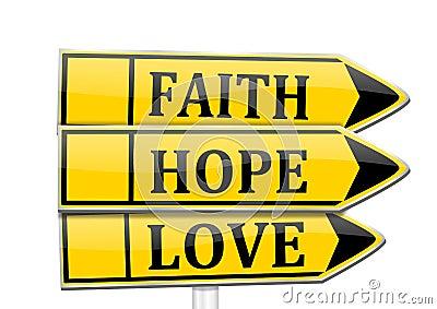 Three arrows with the words faith, hope, love