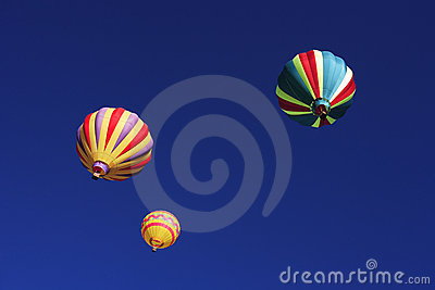 Three Ascending Hot Air Balloons