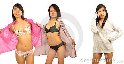 Three Asian female models wearing lingerie