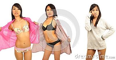 Sexy Asian female models wearing lingerie