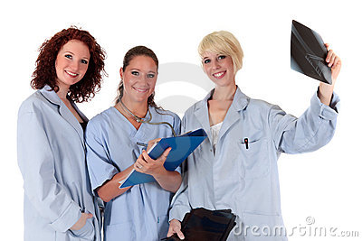 Three attractive female doctors