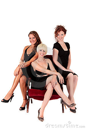 Three attractive women black dresses