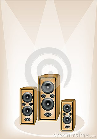 Three Audio Speaker on Brown Stage Background