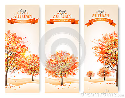 Three autumn abstract banners with colorful leaves and trees