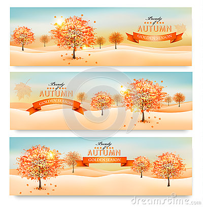 Free Three Autumn Abstract Banners With Colorful Leaves Stock Image - 44084501
