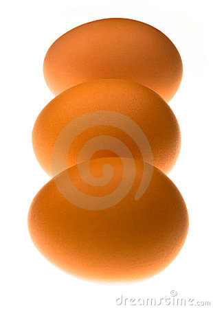 Three backlit eggs in a line