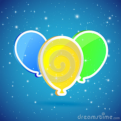 Three balloons on starry background