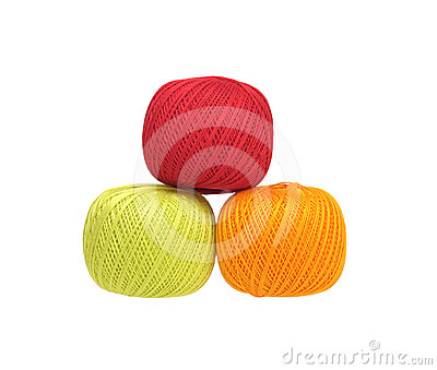 Three balls of cotton yarn