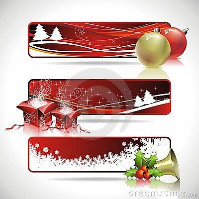Three  banner design on a Christmas theme..