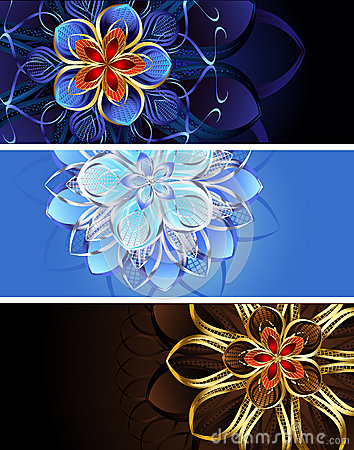 Three banners with abstract flowers