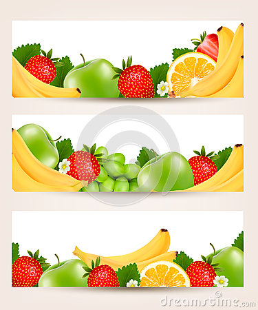 Three banners with delicious ripe fruit.