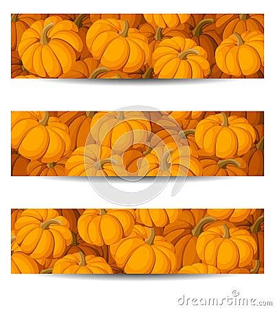 Three  banners with orange pumpkins.
