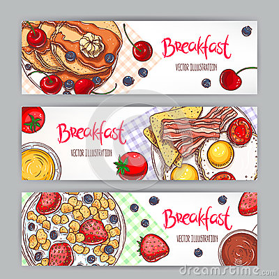 Free Three Banners With Sketch Breakfasts Royalty Free Stock Photography - 54755037