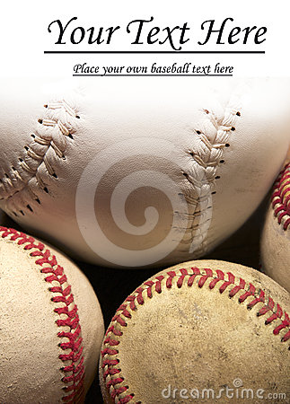 Three baseballs and softball with copy space.
