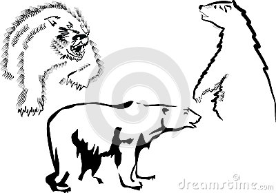 Three bear sketches isolated on white