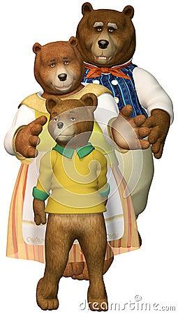 Three Bears Family Illustration Isolated Stock