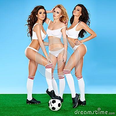 Free Three Beautiful Sexy Women Soccer Players Stock Photo - 39817510