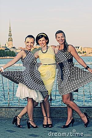 Three beautiful woman outdoors