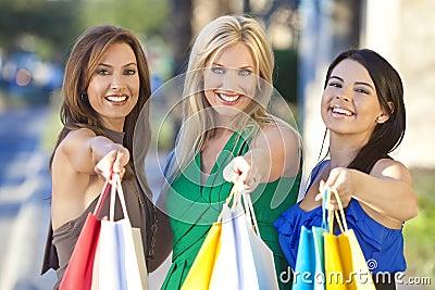 Three Beautiful Women With Fashion Shopping Bags