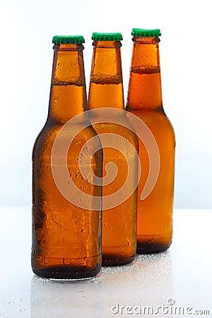 Three beer bottles abreast