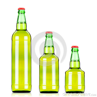 Three  beers bottles of different size