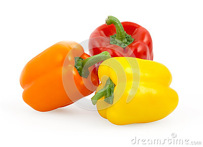 Three bell peppers isolated on white
