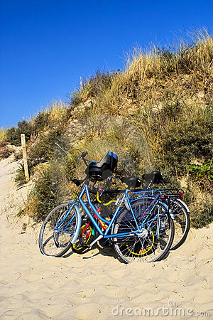 Free Three Bicycles Parked Against Sand Dunes Royalty Free Stock Image - 13216776